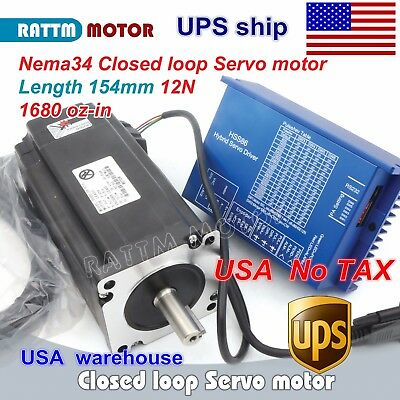 Us Cnc Nema 34 12n.m Closed-loop Servo Motor 154mm 6aencoderhss86 Driver Kit