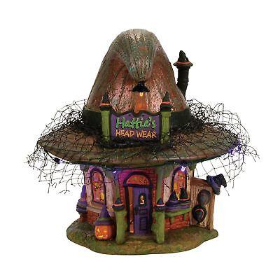 Dept 56 Halloween Village Witch Hollow HATTIE'S HAT SHOP 4056700 DEALER STOCK  (Halloween Shops)
