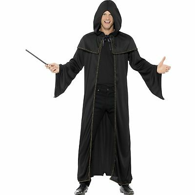 Black Long Wizard Cloak Halloween Magic Adults Mens Fancy Dress Costume (Halloween Wizard Costumes)