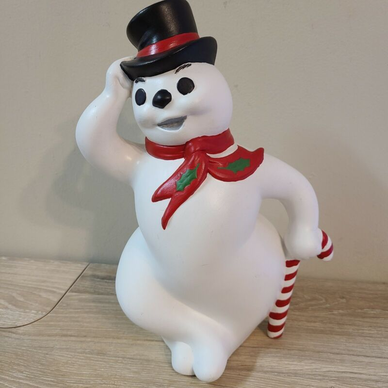 Vintage Atlantic Mold Ceramic Hand Painted Frosty Snowman Figure Xmas Decoration