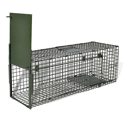 Live Catch Trap with 1 Door Humane Cat Fox Trap Small Mesh Holes Steel Foldable