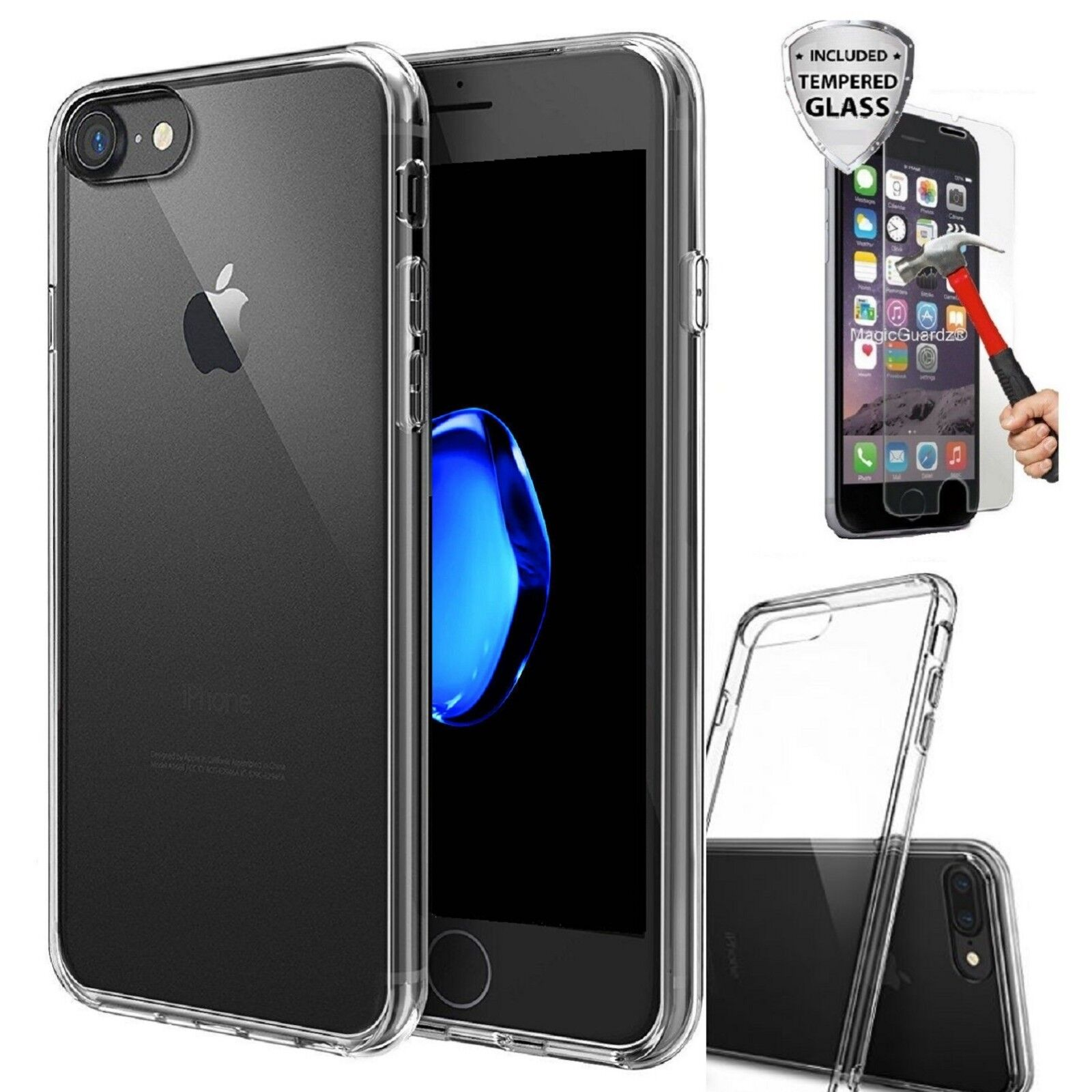 Silicone Clear Cover Bumper Rubber Shockproof + Tempered Glass For iPhone 8 Case