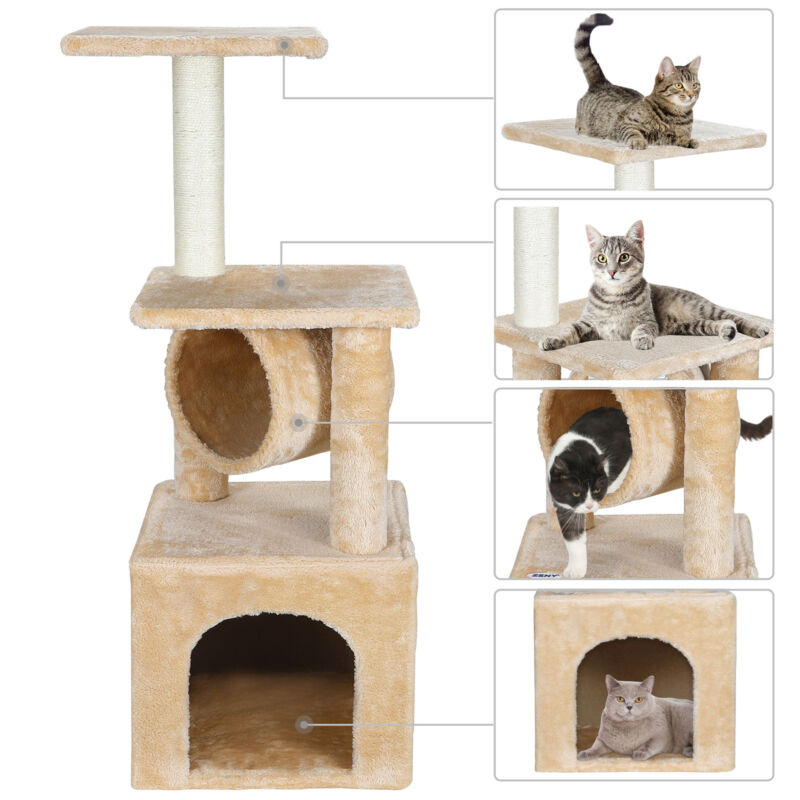 36 Inch Cat Tree Tower Activity Center Large Playing House Condo For Rest&Sleep