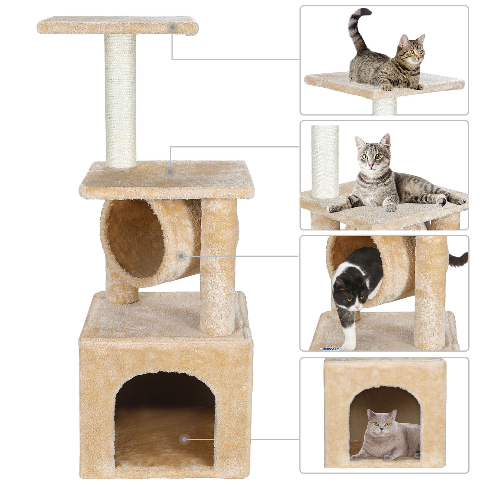 36 Inch Cat Tree Tower Activity Center Large Playing House Condo For Rest&Sleep Cat Supplies
