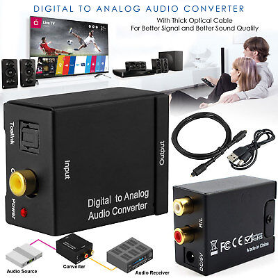 - Digital to Analog Audio Converter Optical Coaxial In Headphone Speaker RCA Out