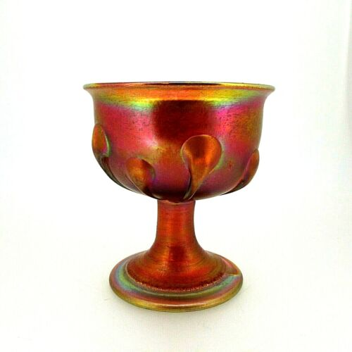 "L.C.T. Tiffany Favrile Gold Iridescent Art Glass ""Tadpoles"" Goblet #8735"