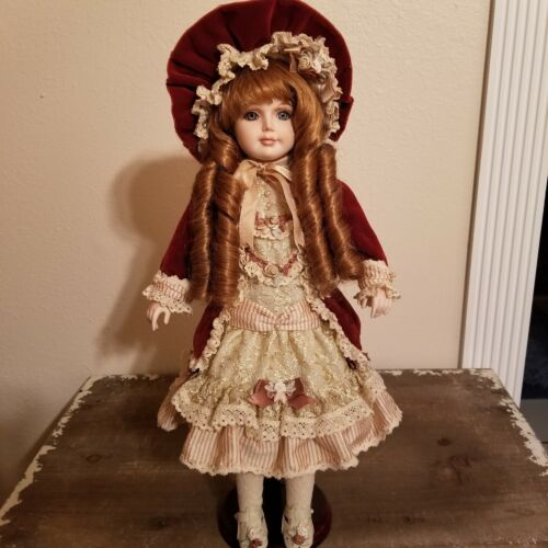 Porcelain Doll 17 Inch Unbranded. Doll Stand Included  - $42.00