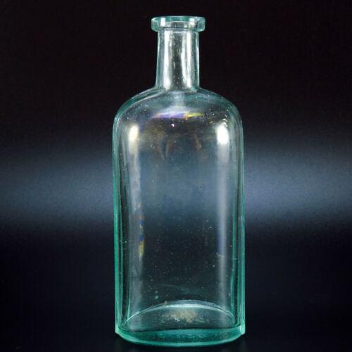 Embossed Bottom Antique Aqua Clear Glass Bottle 2320 Beveled Edges