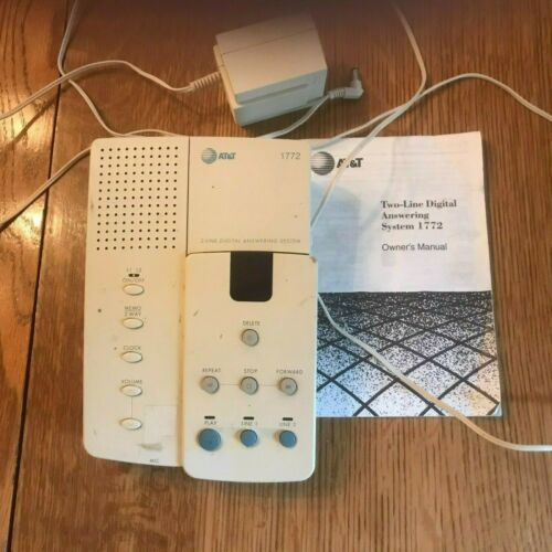 Genuine AT&T Model 1772, 2-Line Digital Answering System w/ Power Supply-Adapter