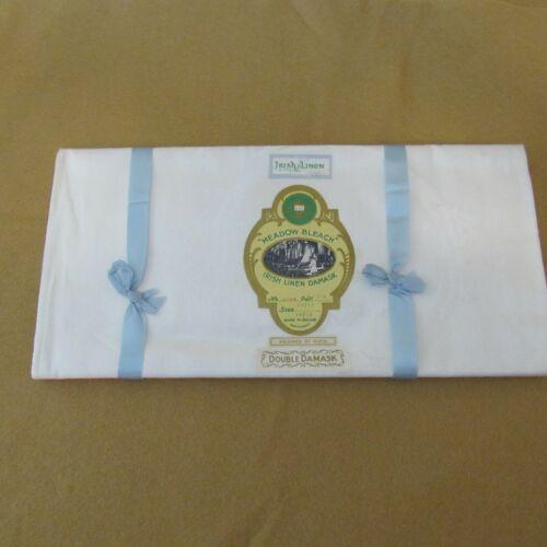 Vintage Meadow Bleach Irish Linen Damask Tablecloth Celtic Pattern Size 54/72