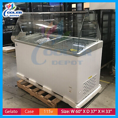 60 Gelato Showcase Ice Cream Glass Commercial Display Chest Freezer Nsf New