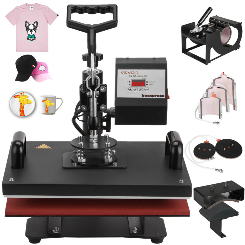 """8 in 1 Heat Press Machine For T-Shirts 12""""x15"""" Combo Kit Sublimation Swing away"""