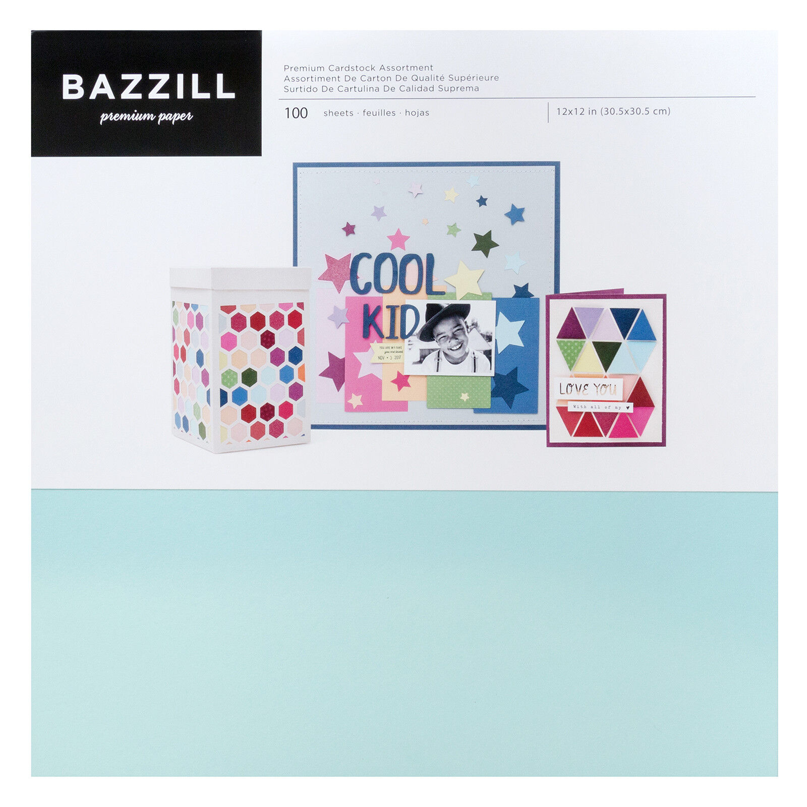 """100 Sheets American Crafts Bazzil Basics 8.5/"""" x 11/"""" Multicolored Cardstock Set"""
