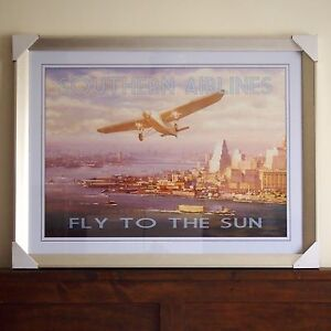 Southern Airlines - Fly To The Sun Framed Print Woodville South Charles Sturt Area Preview