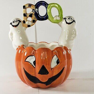 Jack-o-lantern Pumkin With Ghosts Ceramic Basket BOO