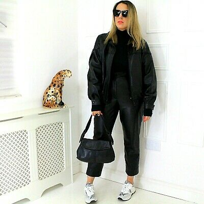 90s Real Supple Soft Leather Black Collared Blogger Bomber Jacket 40 M 14