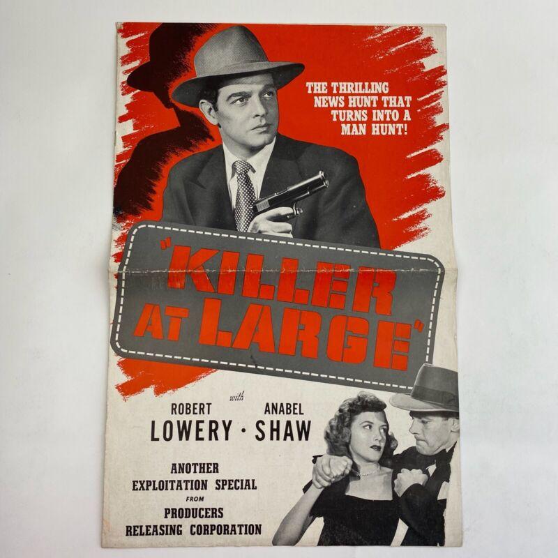 Vintage Movie Pressbook Killer At Large 1947 Robert Lowery Anabel Shaw