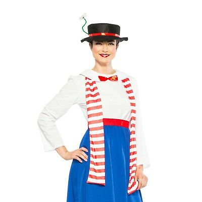 Women's Victorian English Nanny Mary Poppins Hat Scarf Kit Halloween Costume - Mary Poppins Halloween Costume Hat