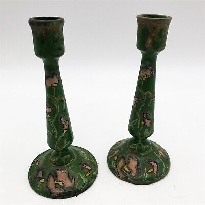 T153 : Antique Wooden Candlestick Holders. Green Bargeware