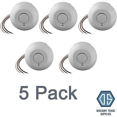 5x Interlinked Mains Smoke Alarm Detector 240V Battery Back Up Linked Photoelec