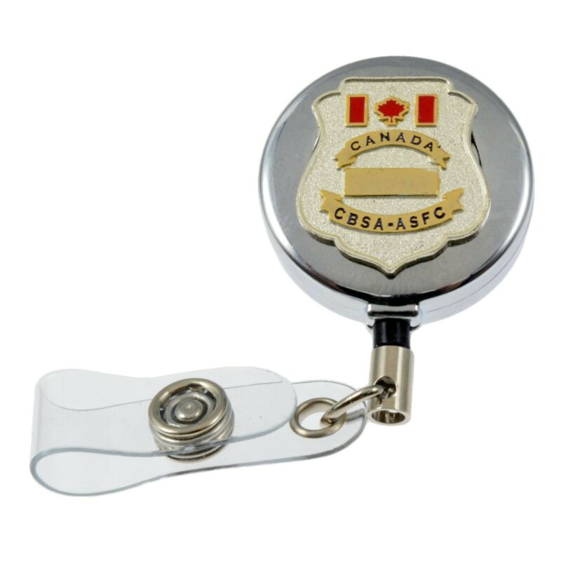 Canada Customs Border Officer CBSA Chrome Retractable ID Card Badge Holder Reel