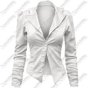 LADIES WOMENS BLAZER 5 BUTTON TUXEDO RUCHED JACKET WORK OFFICE SUIT COAT TOPS