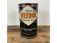 Full VEEDOL 100/% Pennsylvania Motor Oil 1 Quart Oil Can Tin Tidewater Oil Co Gas