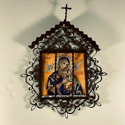 Our Lady of Lourdes Unique vintage religious icon metal easel picture