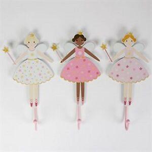 X 3 Pretty fairy hooks girls bedroom wooden NEW coat hook pink dancing