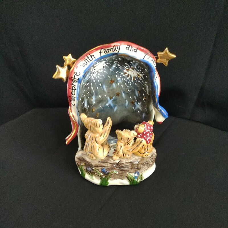Blue Sky Corp Celebrate With Family Friends T-Lite Candle Holder Bears Patriotic