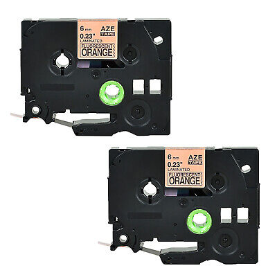 2pk Tze-b11 Tz B11 6mm Fluorescent Label Tape For Brother P-touch Label Maker