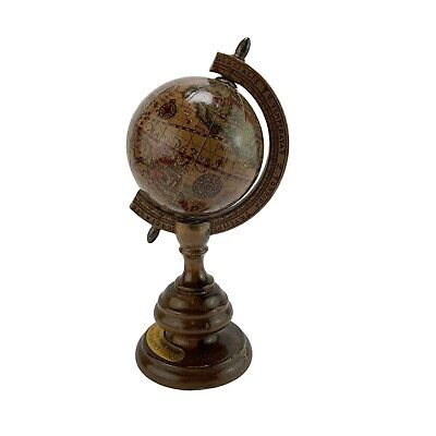 Vintage Italian Mercurio D'Oro Miniature Wooden Globe 7
