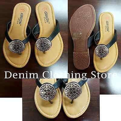 Women's Metal Decor Summer Comfort Casual Thong Flat Flip Flops Sandals Slipper  (Decorated Flip Flops)