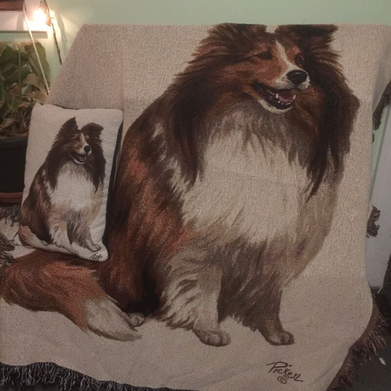 Linda Picken Sheltie Tapestry Pillow and Throw Blanket Set