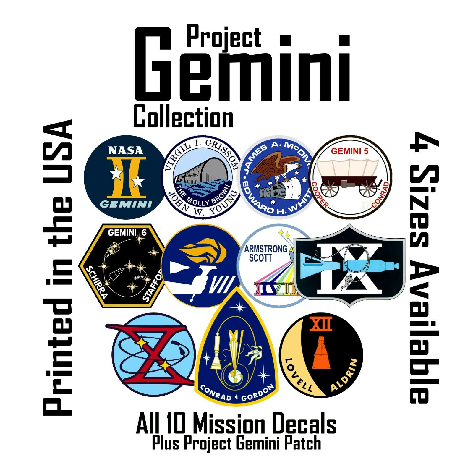 Project Gemini tribute. All NASA Mission patches as decals stickers
