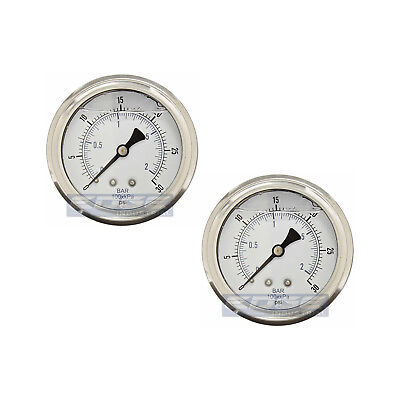 2 Pack Liquid Filled Pressure Gauge 0-30 Psi 2.5 Face 14 Back Mount Wog