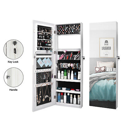 Wall Mounted Full Mirror Jewelry Cabinet Armoire Organizer C