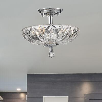 - Mansfield 3 Light Chrome Clear Crystal Bowl Semi Flush Mount Ceiling Light