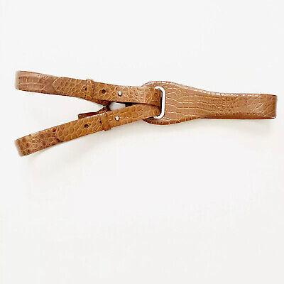 Ralph Lauren Black Label Women's Cognac Brown Tri-strap Alligator Leather Belt L
