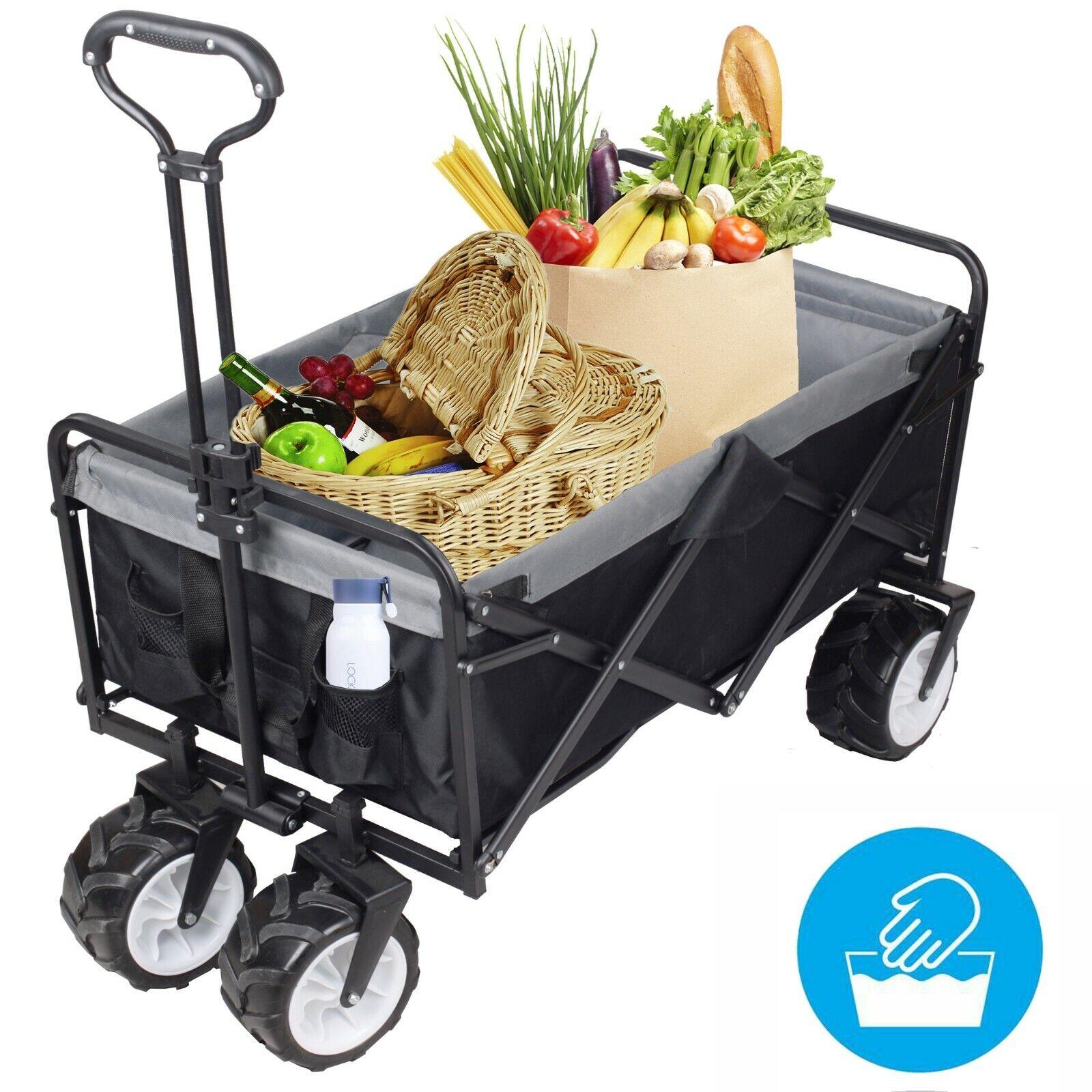 Faltbarer Bollerwagen Handwagen Offroad Strandwagen Transportwagen Gartenwagen
