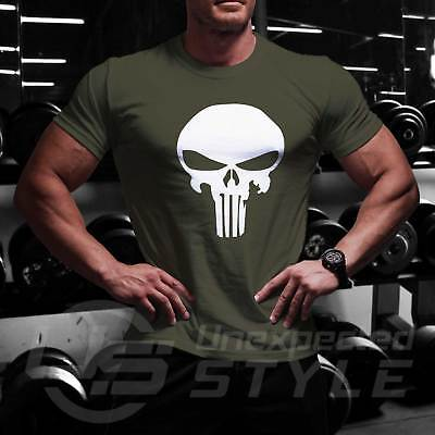 Punisher Schädel T-Shirt Marvel Comic Bodybuilding Training Crossfit