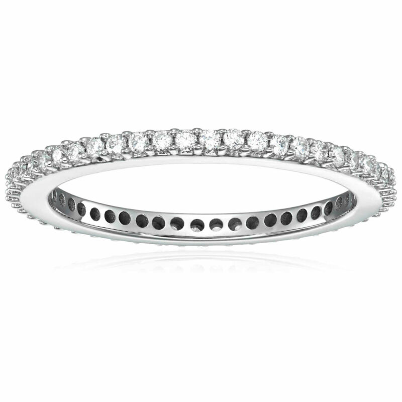 1/2 Cttw Diamond Eternity Ring Wedding Band 14k White Gold Prong Set