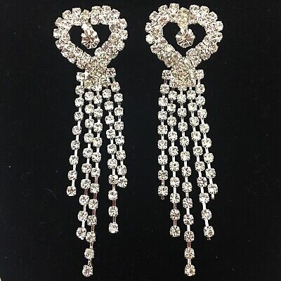 Rhinestone Heart Dangle Earrings Chandelier Clear Formal Long Crystal Pierced ()