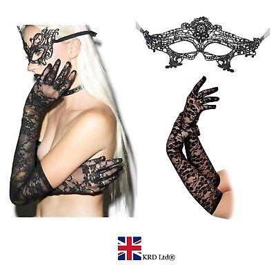 BLACK LONG LACE GLOVES MASK SET Burlesque Goth Sexy Fancy Dress Bride Girls UK