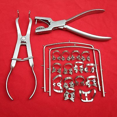 New Rubber Dam Starter Kit Of 18 Pcs With Frame Punch Clamps Dental Instruments
