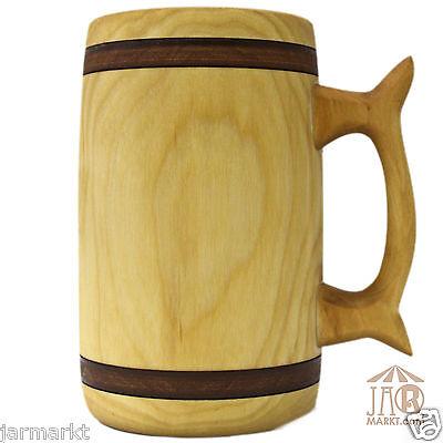 Holzkrug Bierkrug über 1 L Holz-Krug Maßkrug Bierholzkrug aus geöltem Birkenholz