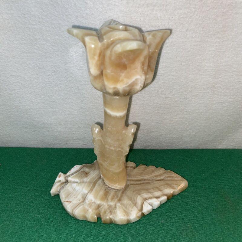 Vtg Mid-century Alabaster Marble Leaf Tulip Candle Holder Pen/pencil Figurine