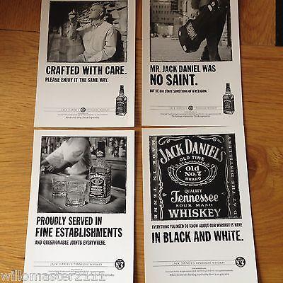 SET OF 4 GENUINE  JACK DANIELS/DANIEL'S WHISKEY ADVERTISING SPIRITS POSTCARDS