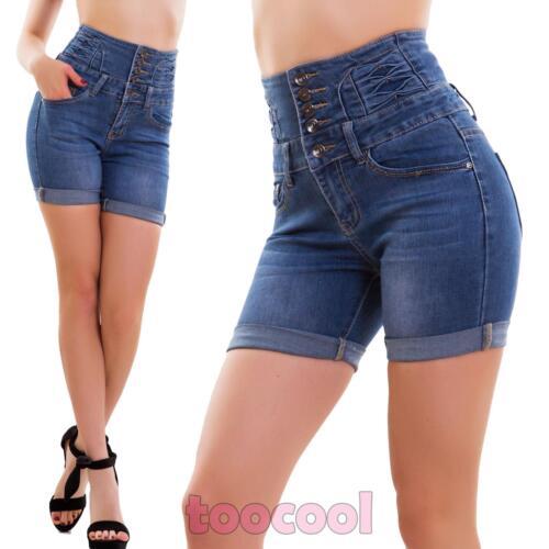 550df28104 Dettagli su Jeans donna pantaloncini pinup vita alta hotpants shorts slim  sexy nuovi E6529