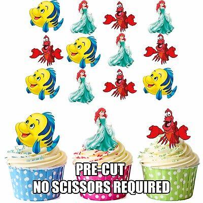 PRECUT Disney Little Mermaid Ariel 12 Edible Cupcake Toppers Girls Decorations
